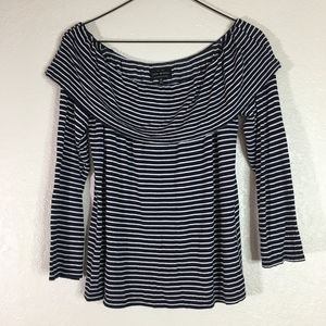Lucky Brand blue striped off the shoulder top boho